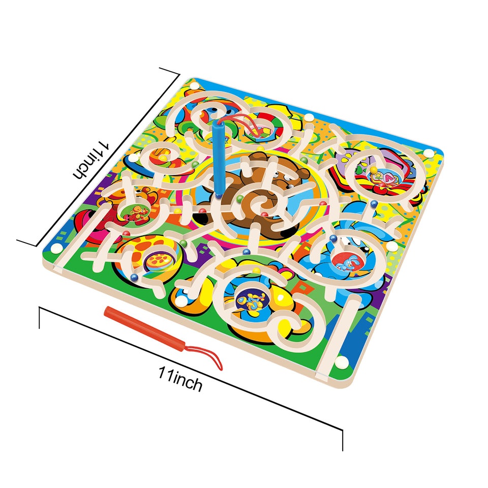 Wooden Toys Magnetic Puzzle Board, Wooden Magnetic Puzzle Activity Game, Birthday Gift for Boys & Girls