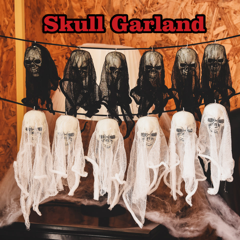 2 Pack Halloween Skull Ghost Garland about 61 inch for Halloween Party Favors
