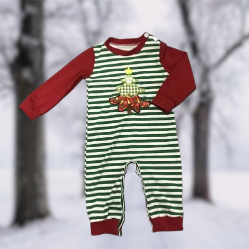 Christmas Tree Boy's Romper