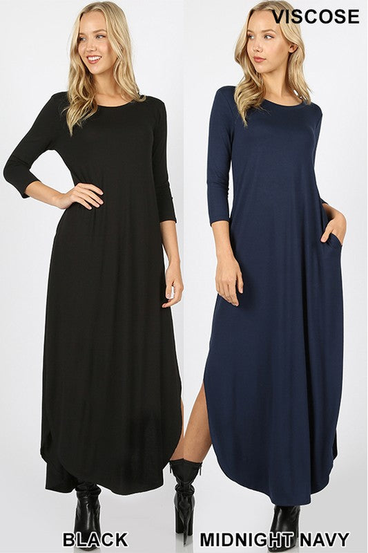 3/4 SLEEVE MAXI DRESS SIDE SLITS & POCKETS
