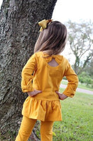 Mustard Peplum Top With Bows