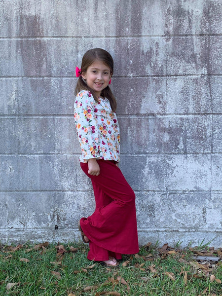 Wine Floral Bell Bottoms Pants Set