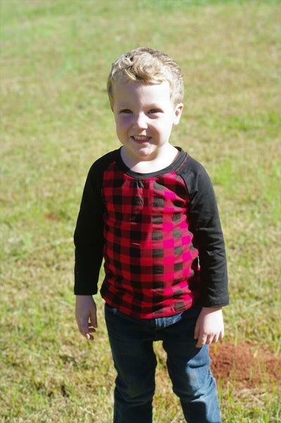 Boy's Red Buffalo Plaid Raglan