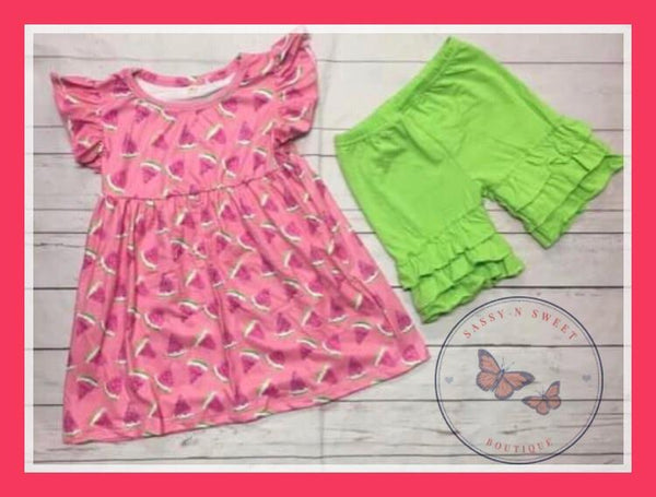 Watermelon Ruffle Shorts Set