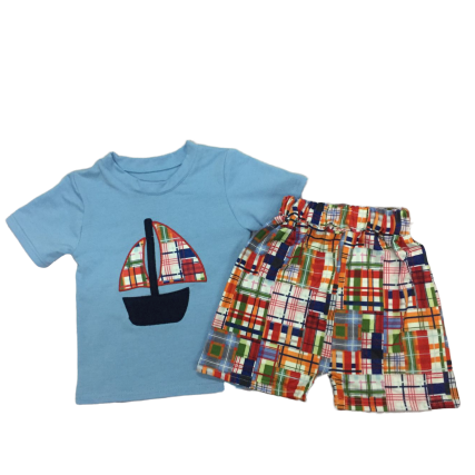 Plaid Boat Shorts Set