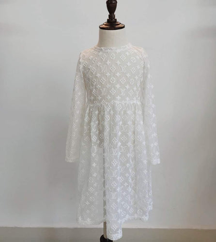 White LV Inspired Lace Dress