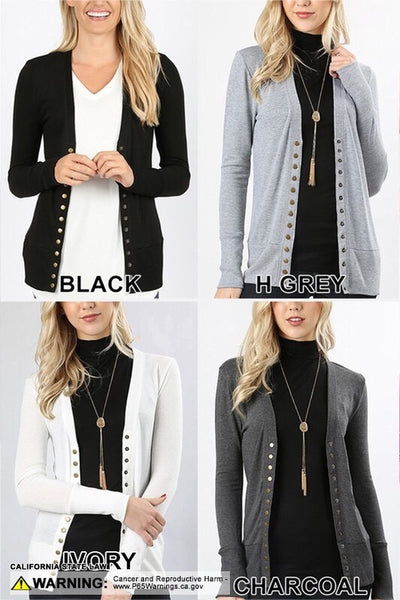 SNAP BUTTON SWEATER CARDIGAN WITH RIBBED DETAIL