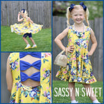 Yellow and Royal Blue Floral