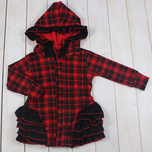 Red Plaid Hooded Jacket