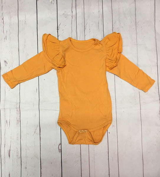 Mustard triple flutter sleeve Leotard