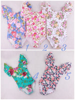Floral Print Leotards with Snaps in 5 colors