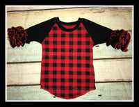 Girl's Red Buffalo Plaid Raglan