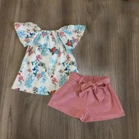 Floral Top with Pink Shorts Set
