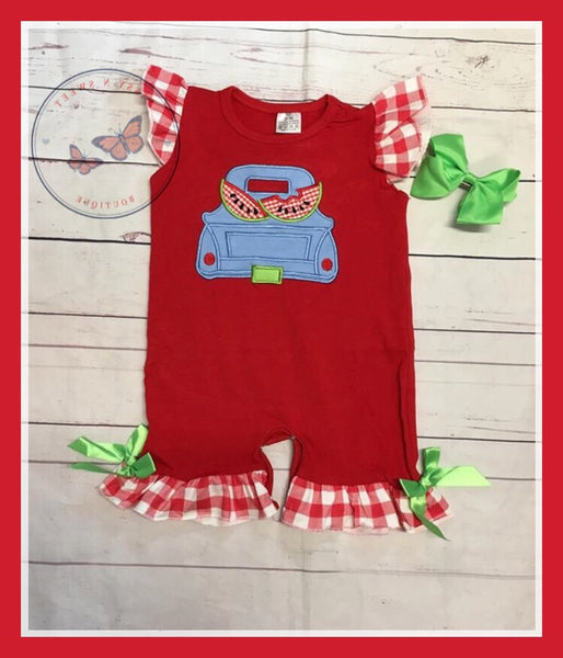 Watermelon Truck Sibling Girl's Romper