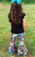 Plum Floral Bell Bottoms