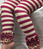 Plum and Ivory Stripe Icing Leggings