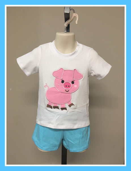 Boy's Pig Shorts Set