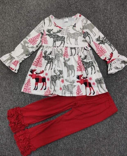 Moose Plaid Girl's Set