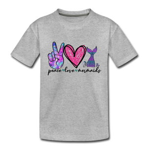 Peace Love Mermaids Youth T-Shirt - heather gray