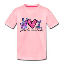 Peace Love Mermaids Youth T-Shirt - pink