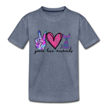 Peace Love Mermaids Youth T-Shirt - heather blue