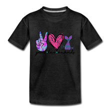 Peace Love Mermaids Youth T-Shirt - charcoal gray
