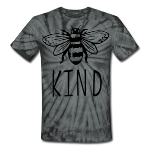 Bee Kind Unisex Tie Dye T-Shirt - spider black