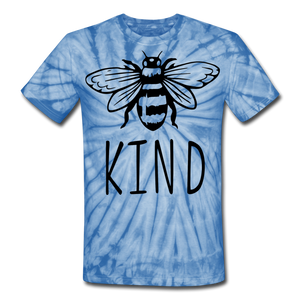 Bee Kind Unisex Tie Dye T-Shirt - spider baby blue