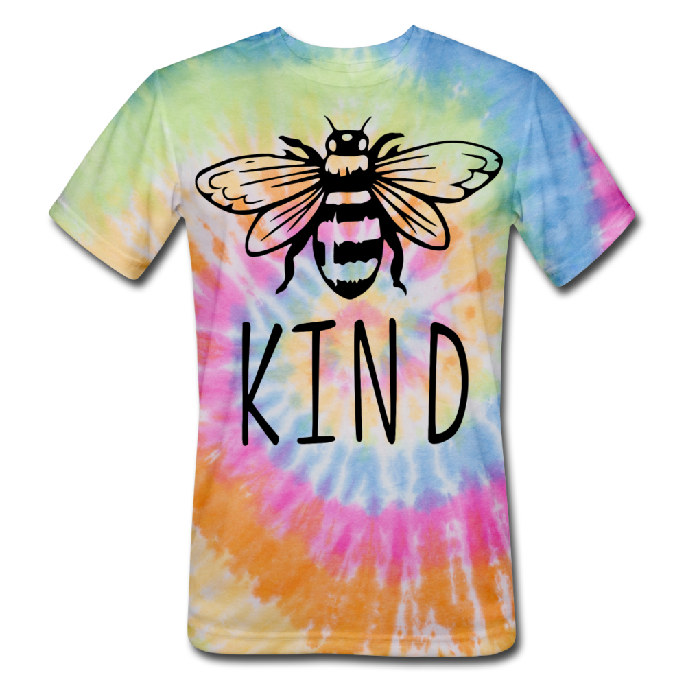 Bee Kind Unisex Tie Dye T-Shirt - rainbow