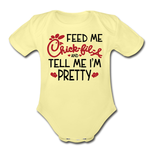 Feed Me & Tell Me I'm Pretty Short Sleeve Baby Bodysuit - washed yellow