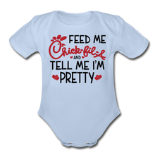 Feed Me & Tell Me I'm Pretty Short Sleeve Baby Bodysuit - sky