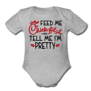 Feed Me & Tell Me I'm Pretty Short Sleeve Baby Bodysuit - heather gray