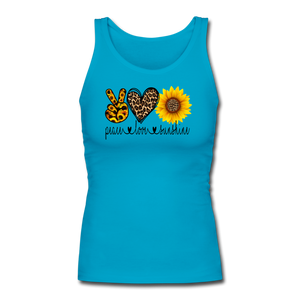 Peace Love Sunshine Women's Longer Length Fitted Tank - turquoise