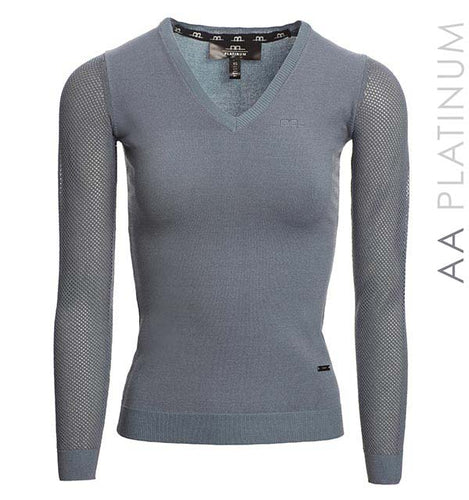 Sweater with Perforated Sleeves