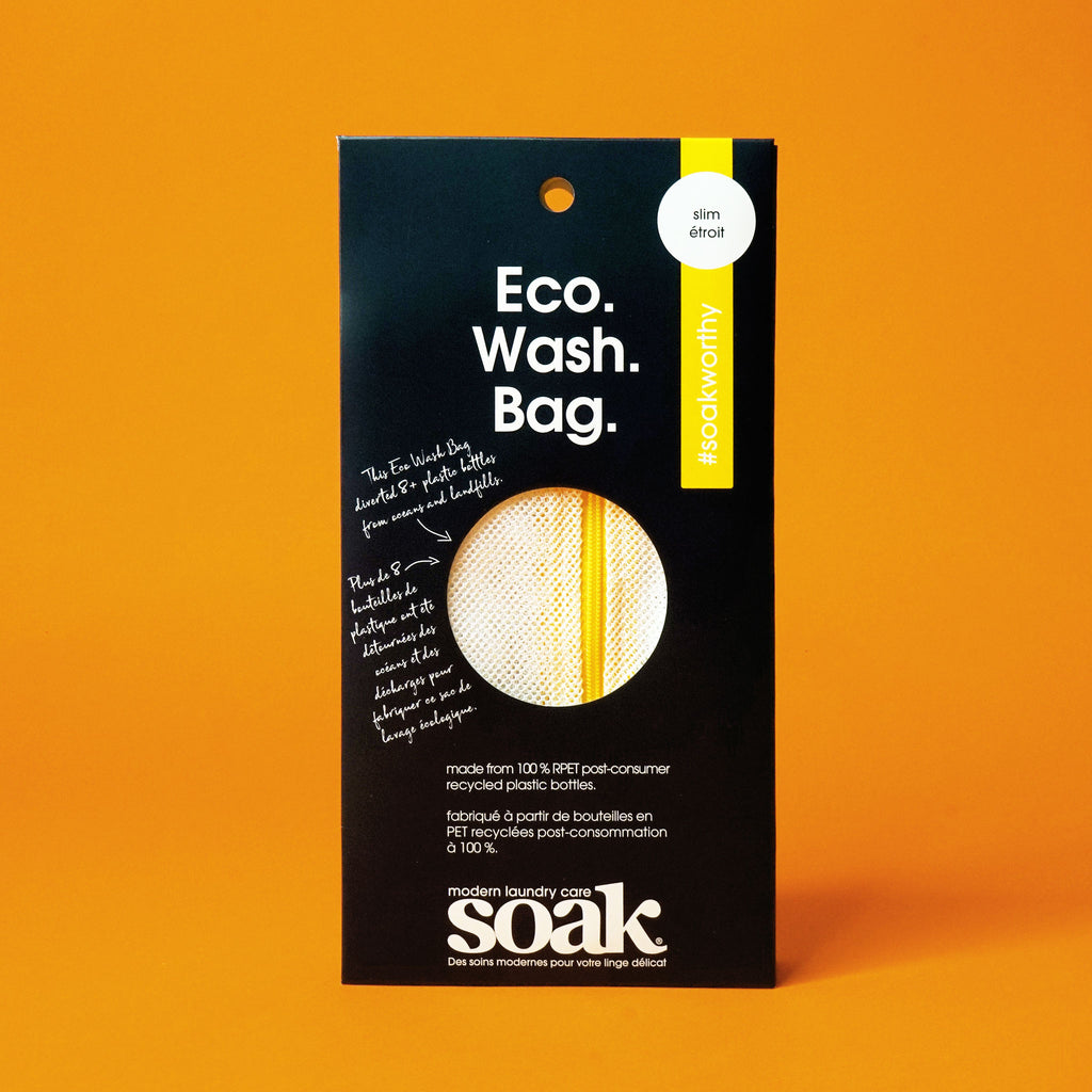 "A black rectangular package with a circle cutout showing a mesh material with yellow zipper. The box reads ""Eco. Wash. Bag."""