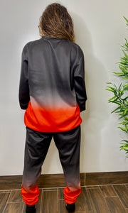 MEL BLACK/RED  OMBRE SWEATSUIT