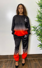 Load image into Gallery viewer, MEL BLACK/RED  OMBRE SWEATSUIT