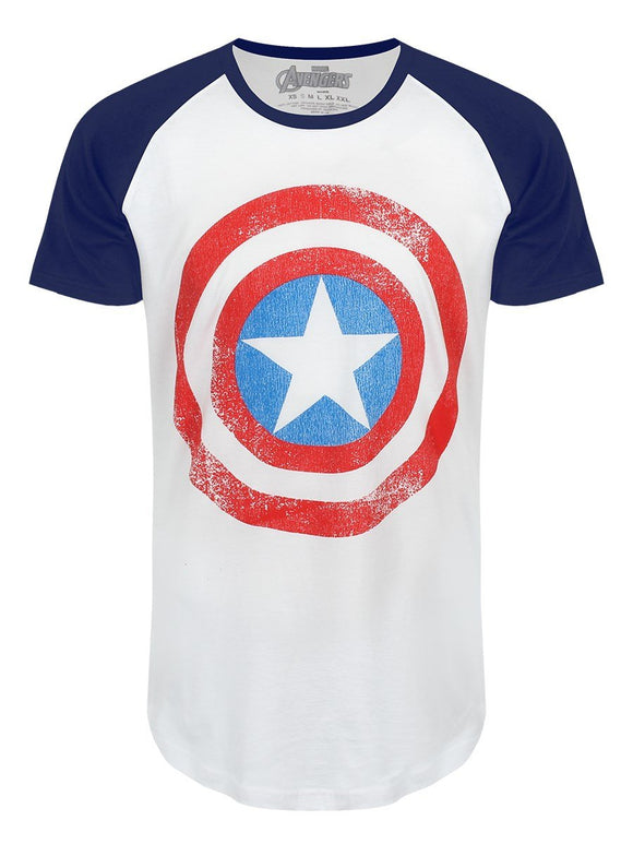 T-Shirt - Marvel Comics - Raglan Tee - Captain America Sheild (Distressed) M/L/XL/XXL - Gloriously Geek