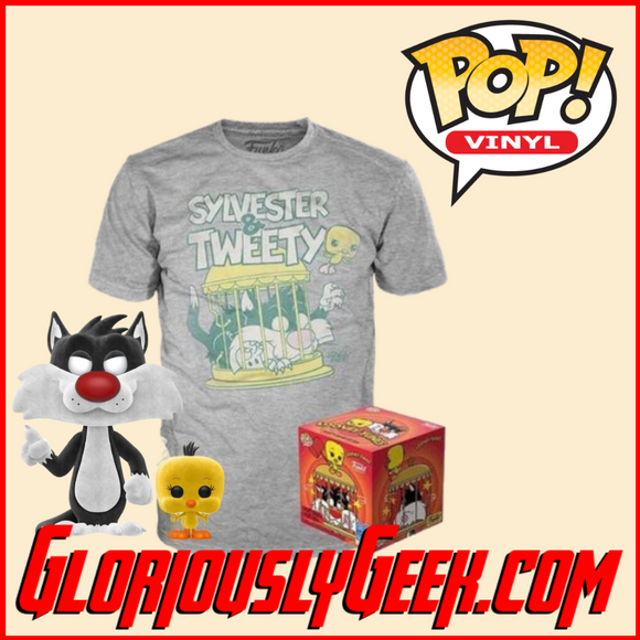 Funko - Animation Pop! Vinyl and Tee - Looney Tunes - Sylvester and Tweety (Flocked) #309 (Medium)