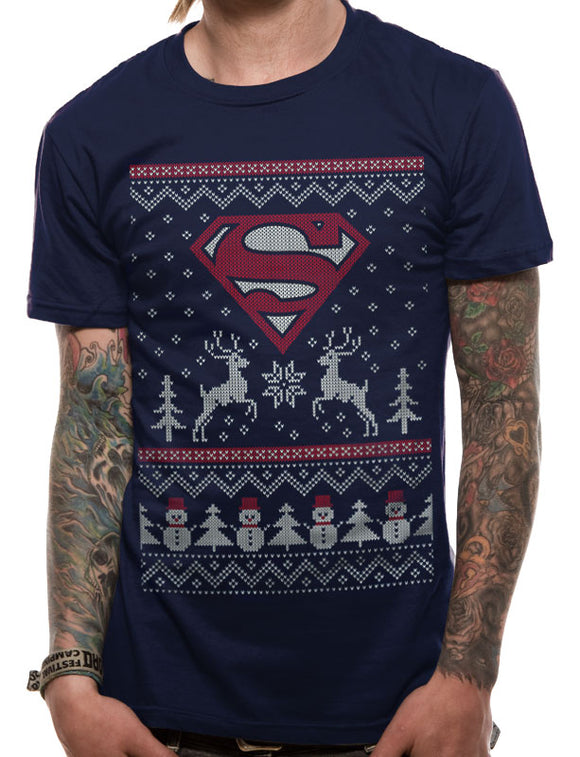 DC Comics - Superman Christmas - Small T-Shirt - Gloriously Geek