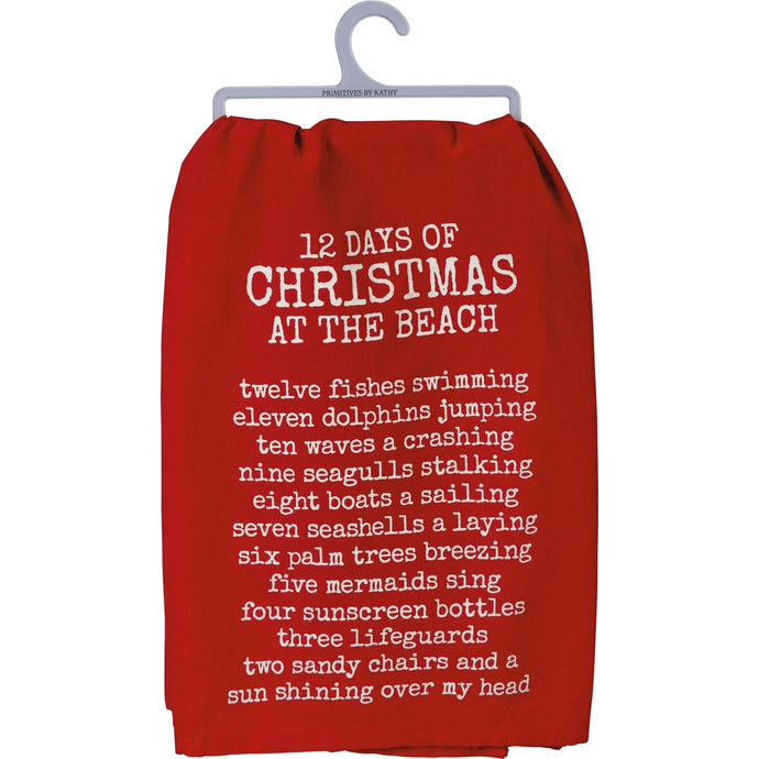 12 Days of Christmas at the Beach Dish Towel