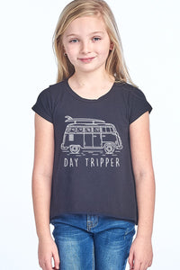 Girls Day Tripper Graphic Tee in Black