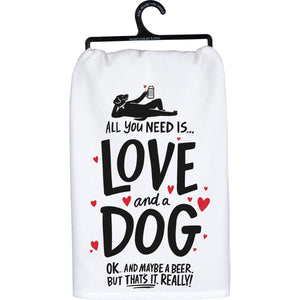 Dog & a Beer Dish Towel