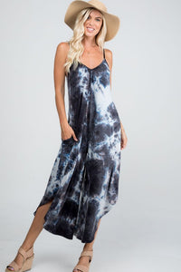 The Mindy Tie Dye Jumpsuit in Black
