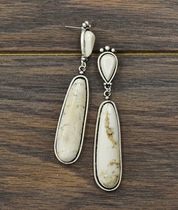 Natural White Turquoise Post Earrings