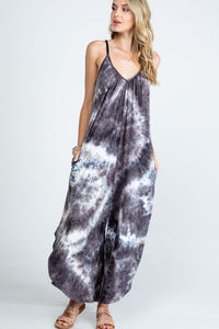 The Mindy Tie Dye Jumpsuit in Mocha
