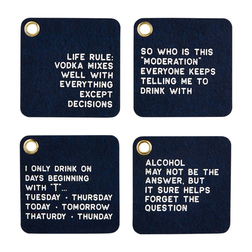 LIFE RULES FELT COASTER SET