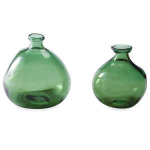 Short Green Glass Irregular Vase