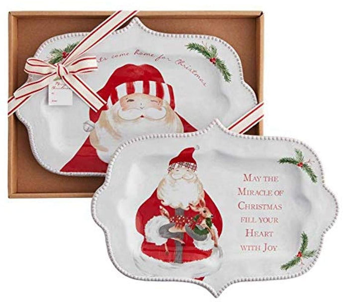 Santa  and Deer Boxed Platter