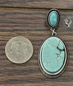 Natural Turquoise Solitaire Post Earrings
